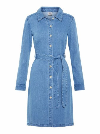 Blå Vero Moda Vmjulia Ls Belt Denim Dress
