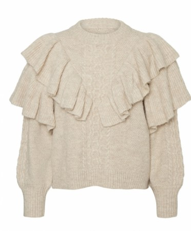 Beige Noisy May Nmdarling L/s O-neck Frill Knit