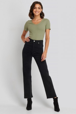 Sort Na-kd Straight High Waist Jeans