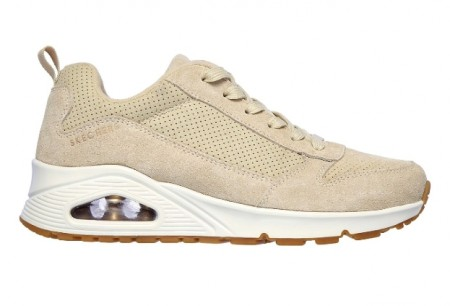 Beige Skechers Uno Two for the Show sneakers