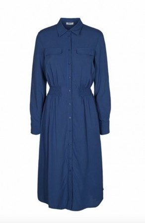 Blå Moss Copenhagen Caddy Beach Ls Shirt Dress