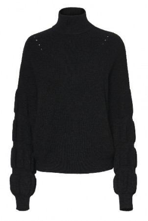 Sort Noisy May Nmlotte L/s High Neck Bouble Knit